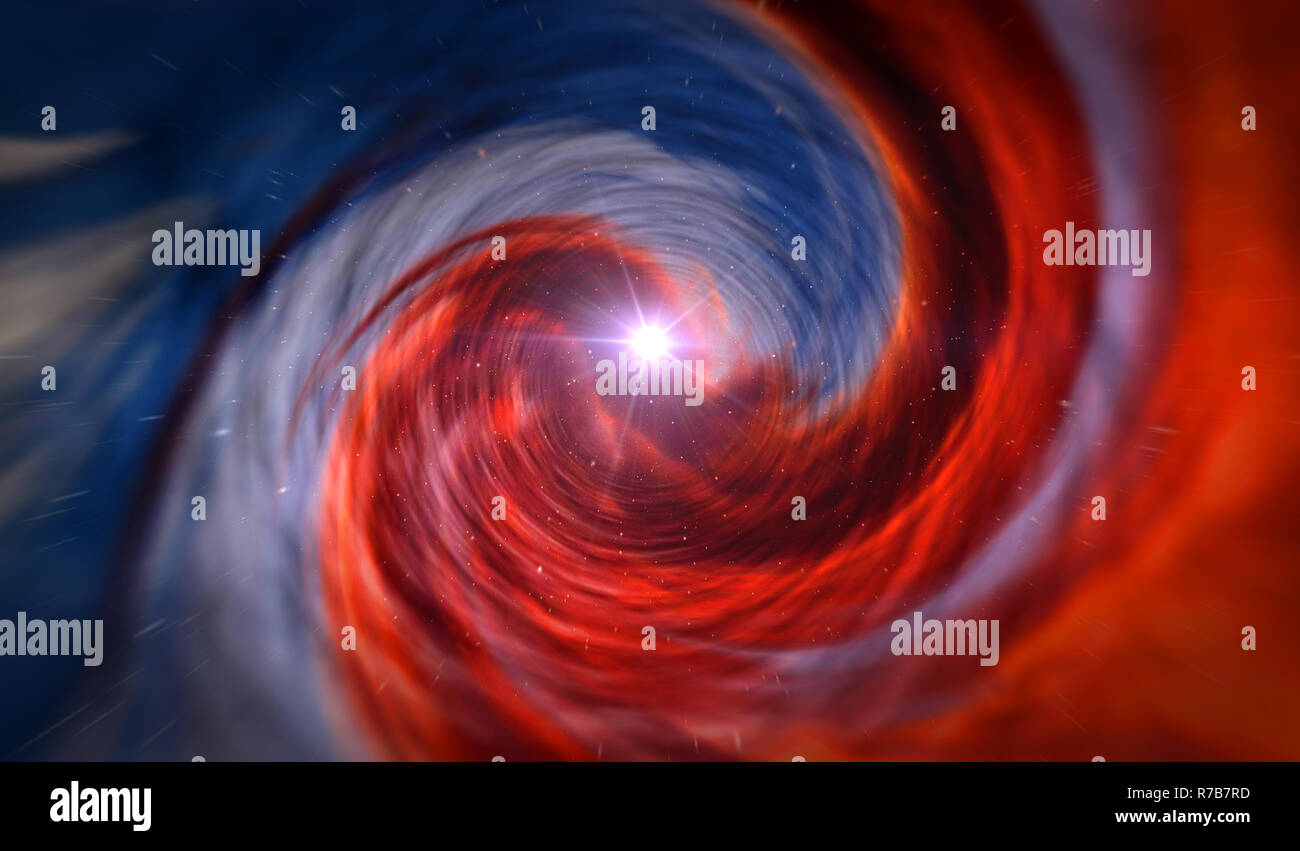 Travel by time tunnel. Abstract concept of wormhole, time vortex, science and physics 3D illustration. - Stock Image