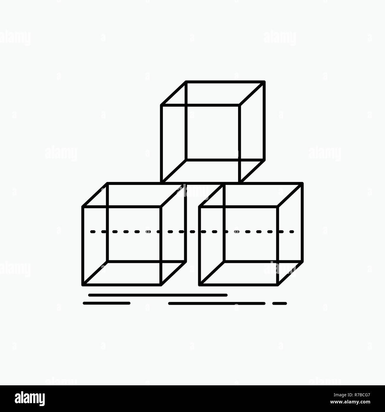 Arrange, design, stack, 3d, box Line Icon. Vector isolated illustration - Stock Vector