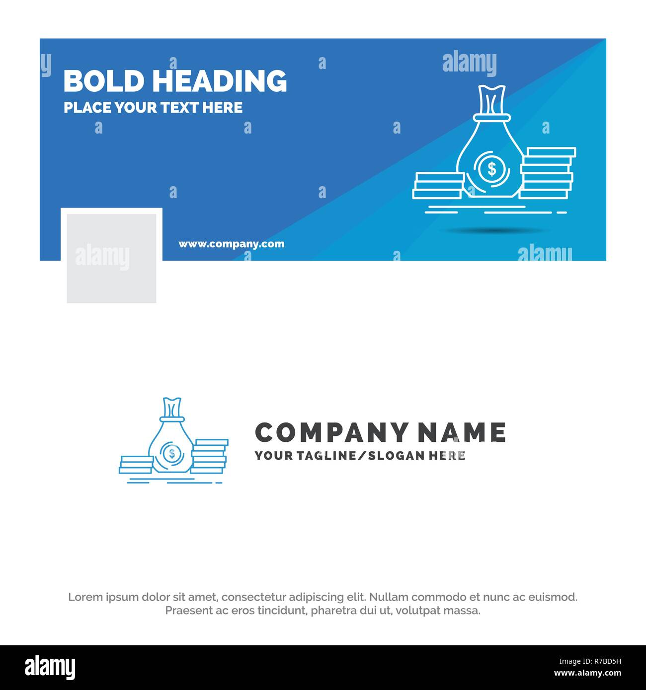 Blue business logo template for accumulation, bag, investment.