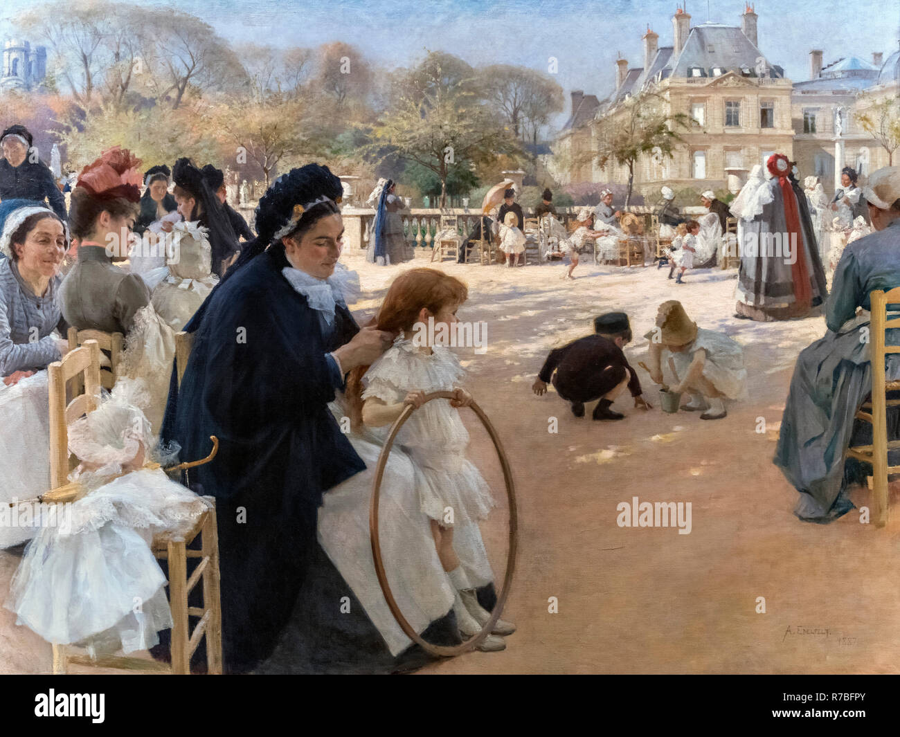The Luxembourg Gardens, Paris by Albert Gustaf Aristides Edelfelt (1854-1905), oil on canvas, 1887 Stock Photo