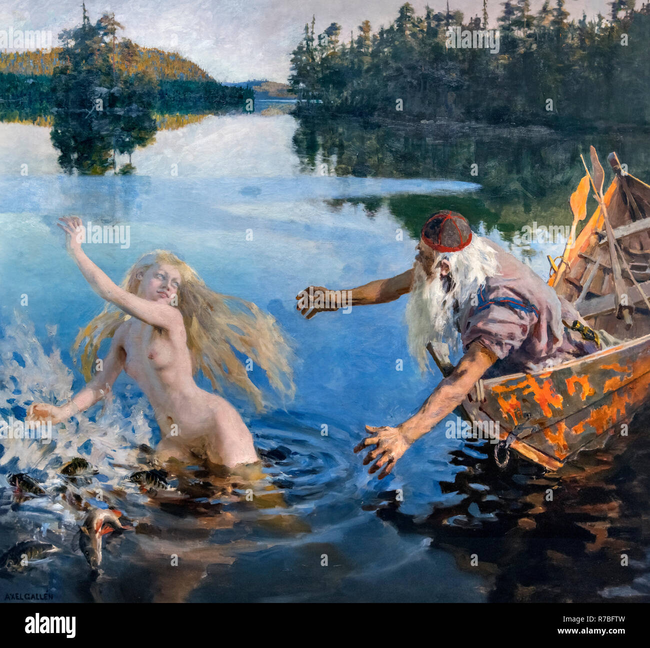 The Aino Myth triptych by Akseli Gallen-Kallela (1865-1931), oil on canvas, 1891. The painting, depicting Väinämöinen and Aino, is a story from the Finnish work of epic poetry, the Kalevala. Detail of the central panel of the triptych - full work can be seen as R7BFT5 - Stock Image