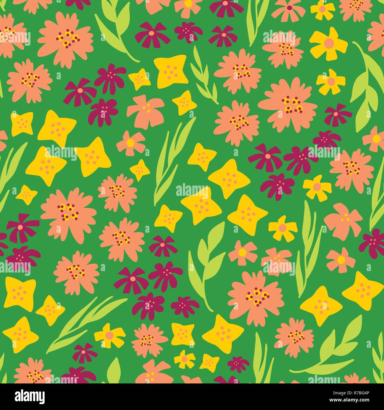 Spring Flowers Seamless Vector Repeat Pattern Hand Drawn Florals