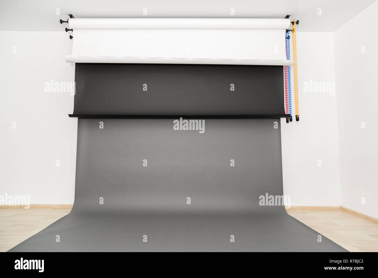 Photo studio at home. New paper backgrounds. - Stock Image