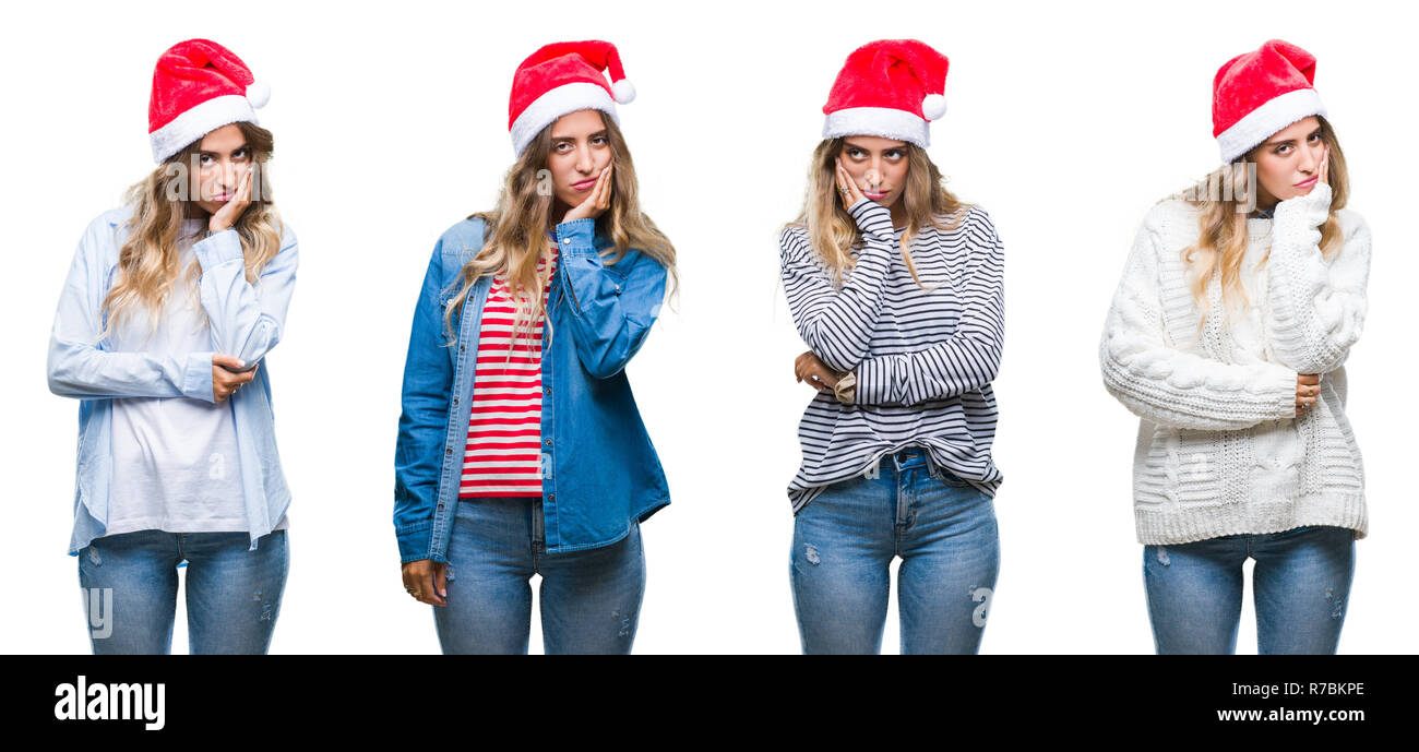 Young beautiful young woman wearing christmas hat over white isolated background thinking looking tired and bored with depression problems with crosse Stock Photo