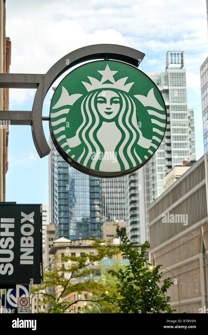 Montreal Canada October 4 2018 Starbucks Coffee Shop Sign Starbucks Corporation Is An American Coffee Company And One Of The Famous Coffeehouse Stock Photo Alamy