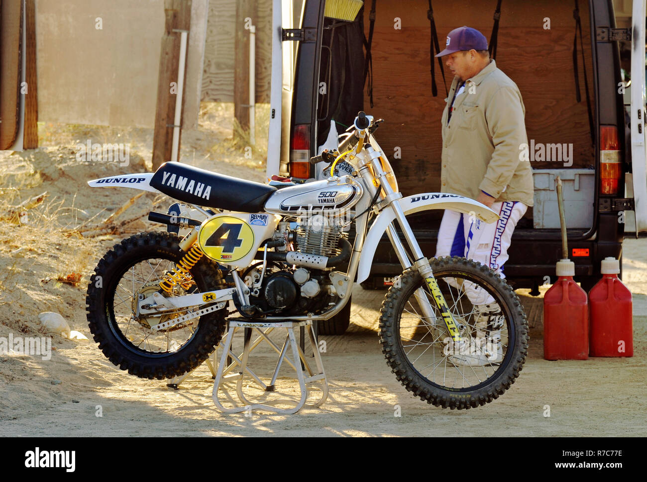 custom built four-stroke Yamaha dirt bike - Stock Image