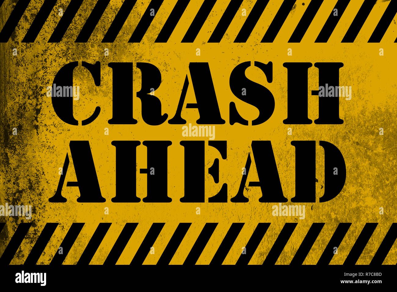 Crash Ahead sign yellow with stripes - Stock Image