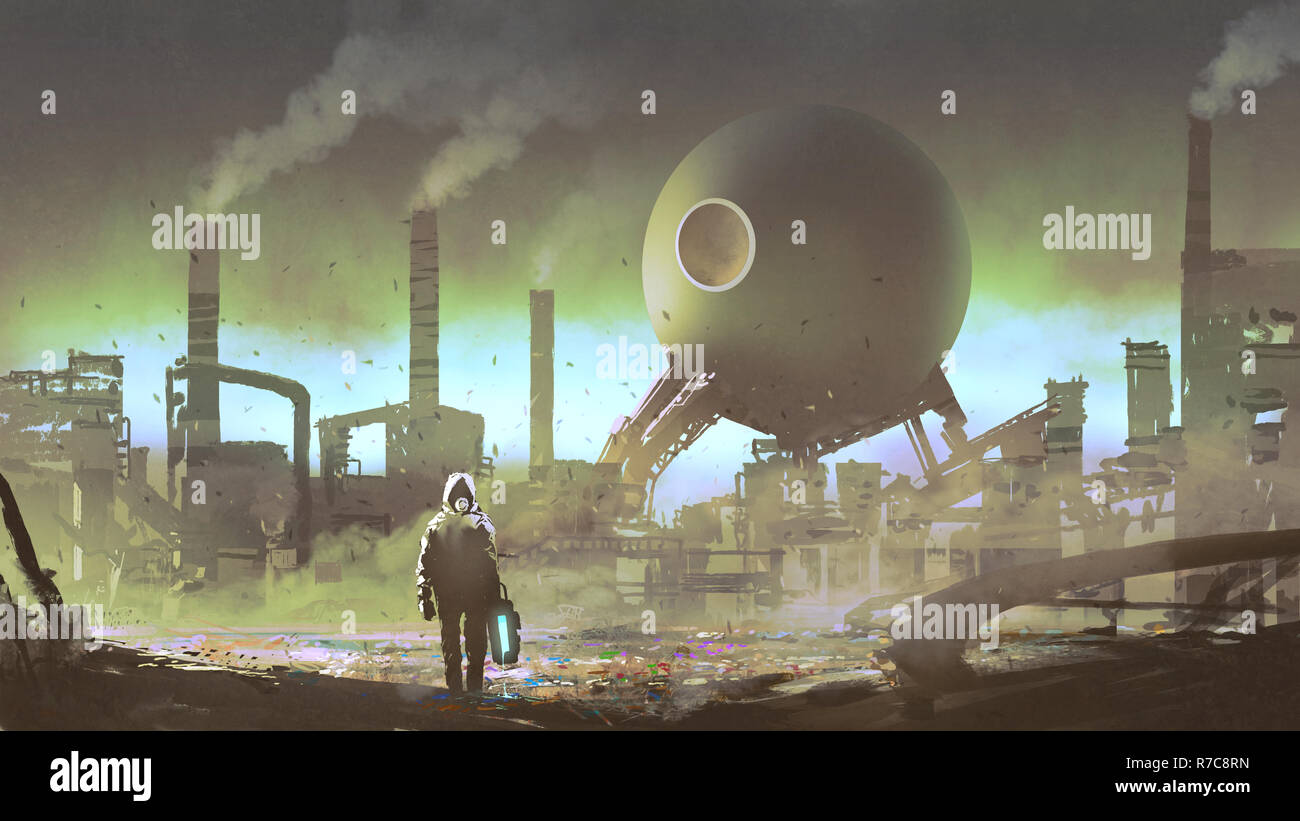 man with protective suit in an industrial factory filled with toxic gas, digital art style, illustration painting - Stock Image