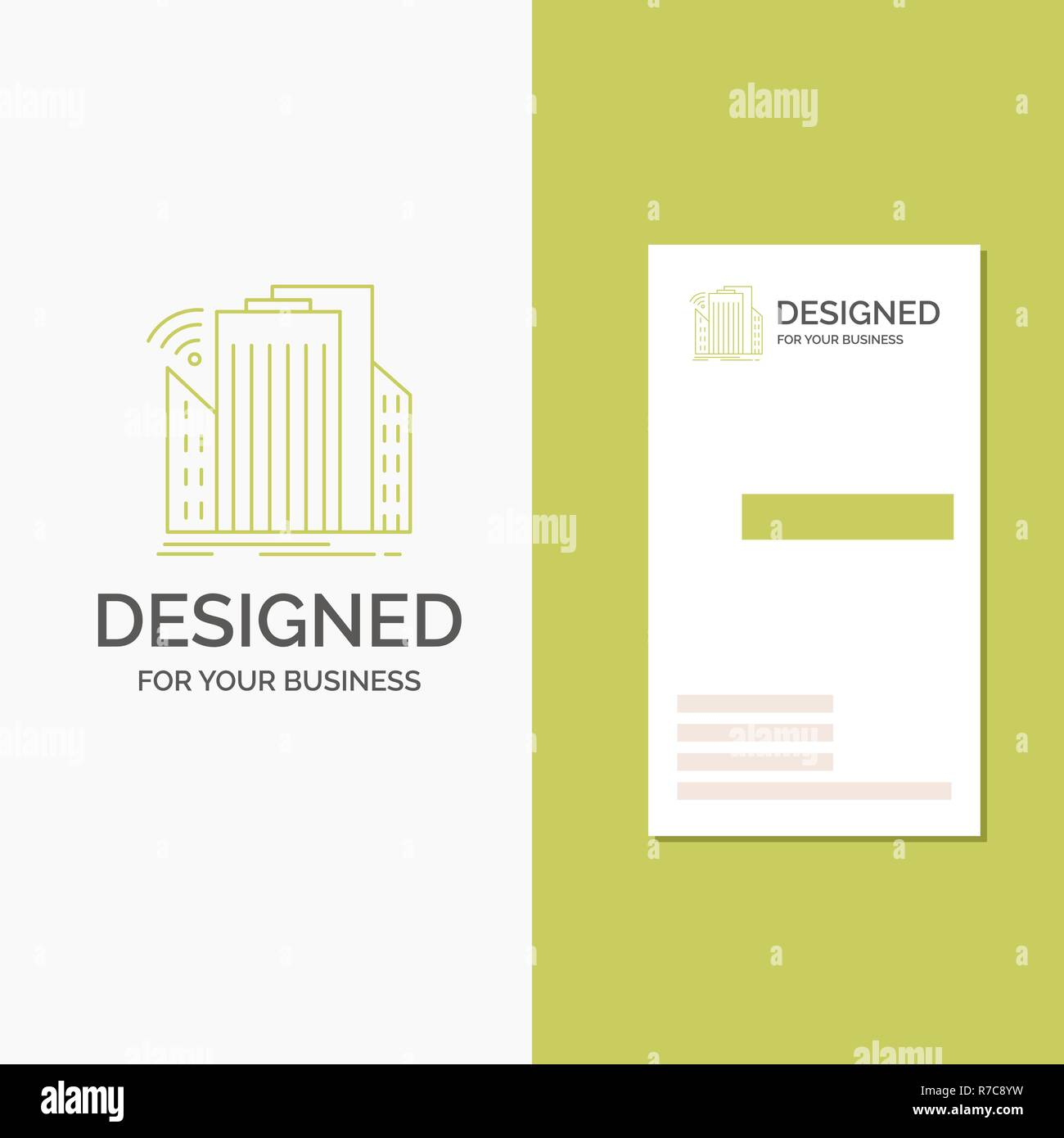 Business Logo for Buildings, city, sensor, smart, urban. Vertical Green Business / Visiting Card template. Creative background vector illustration - Stock Vector
