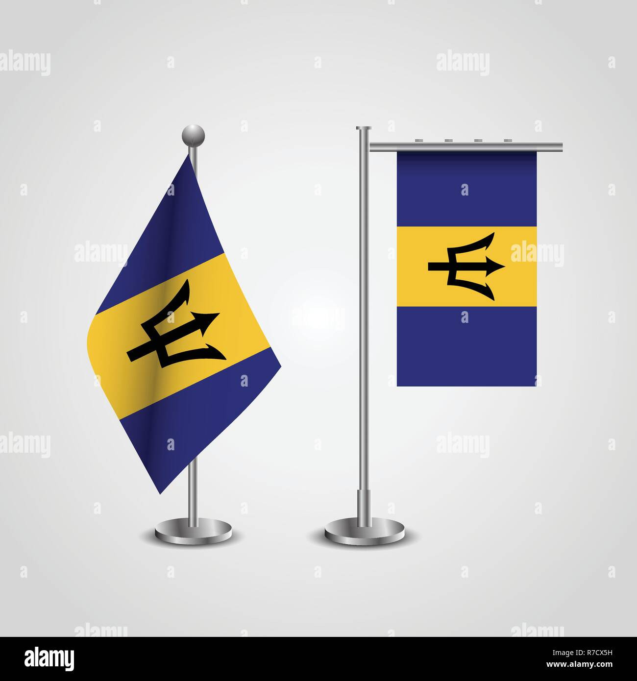 Barbados Country Flag on Pole - Stock Vector