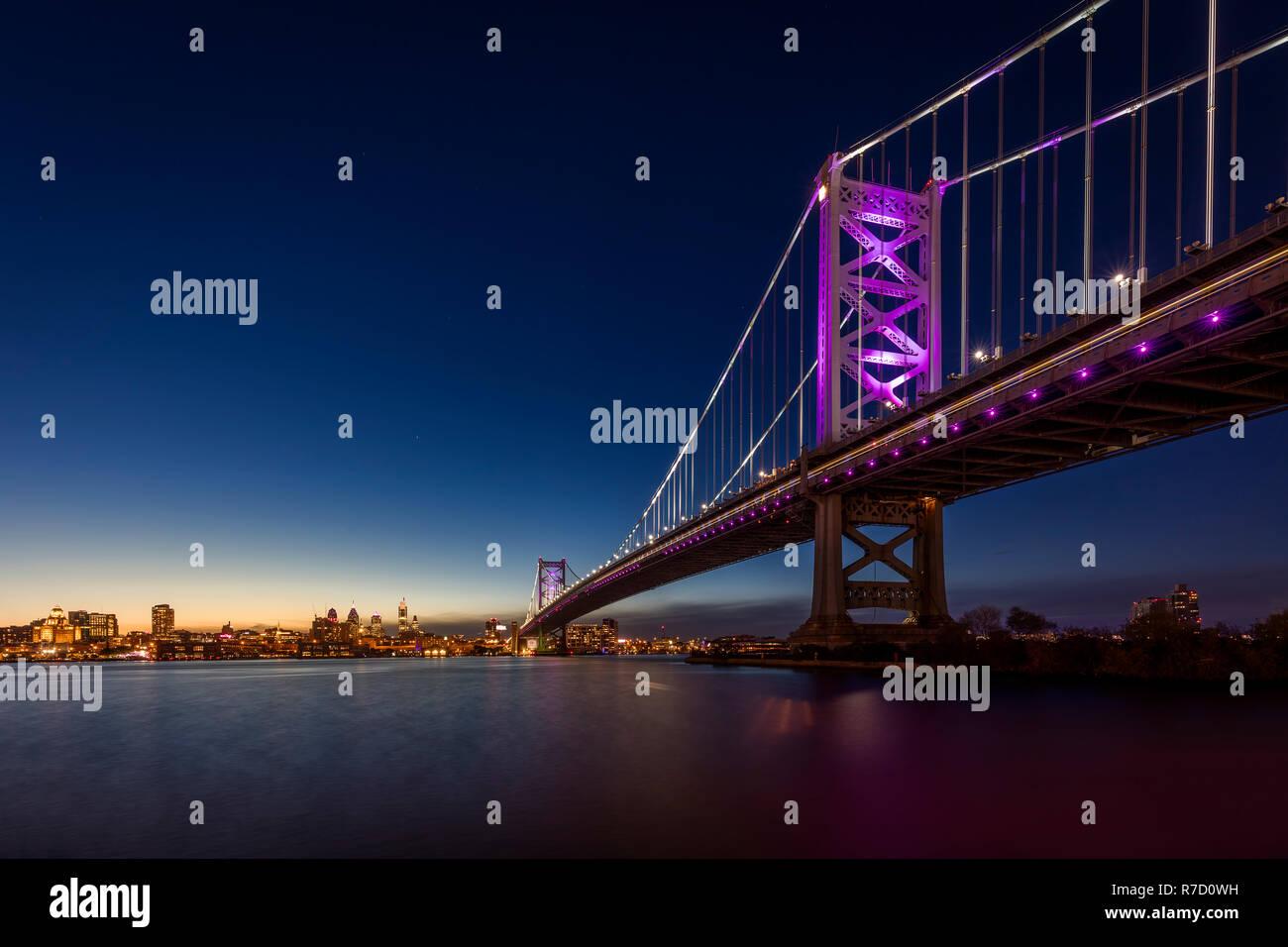Ben Franklin Bridge near Philadelphia, USA Stock Photo