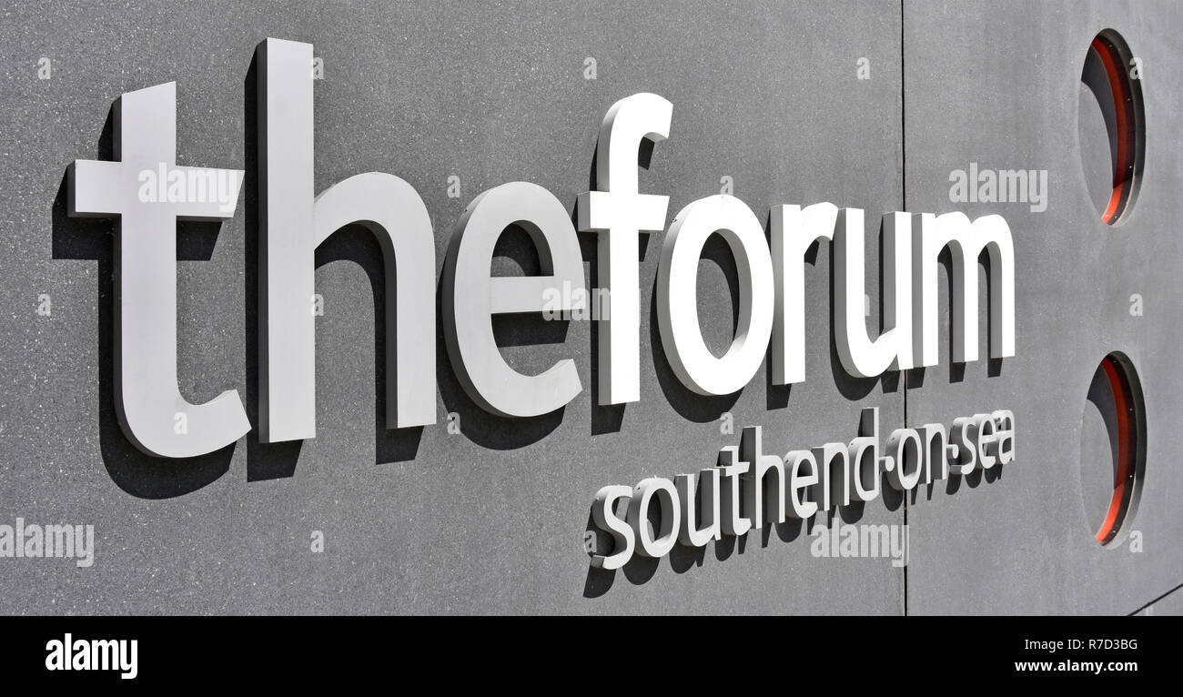 Close up letters in Forum sign on building in Southend on Sea which has Higher Education learning resources & modern library building Essex England UK - Stock Image