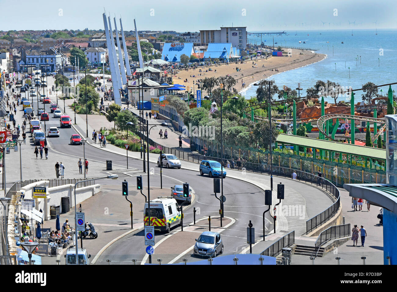 Looking down view from above Southend on sea holiday seaside resort waterfront beach & fairground promenade Thames Estuary Essex coast England UK - Stock Image