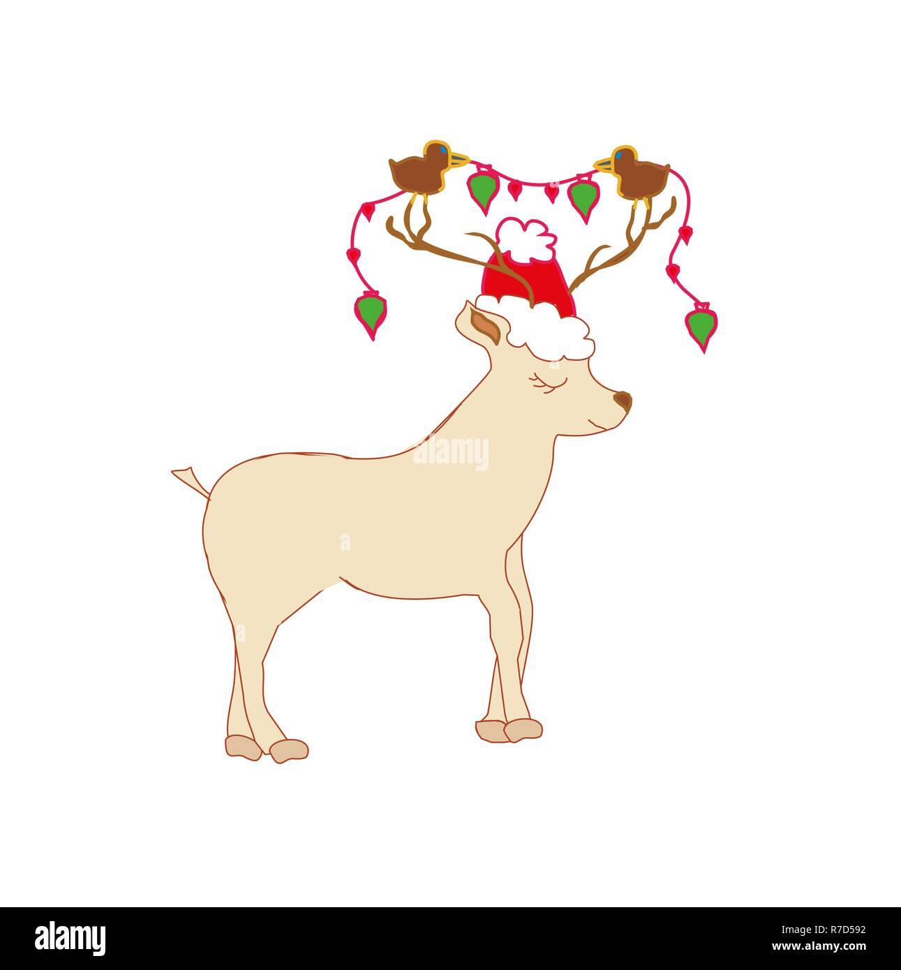 Christmas card with reindeer. Cute cartoon deer. Stock Vector