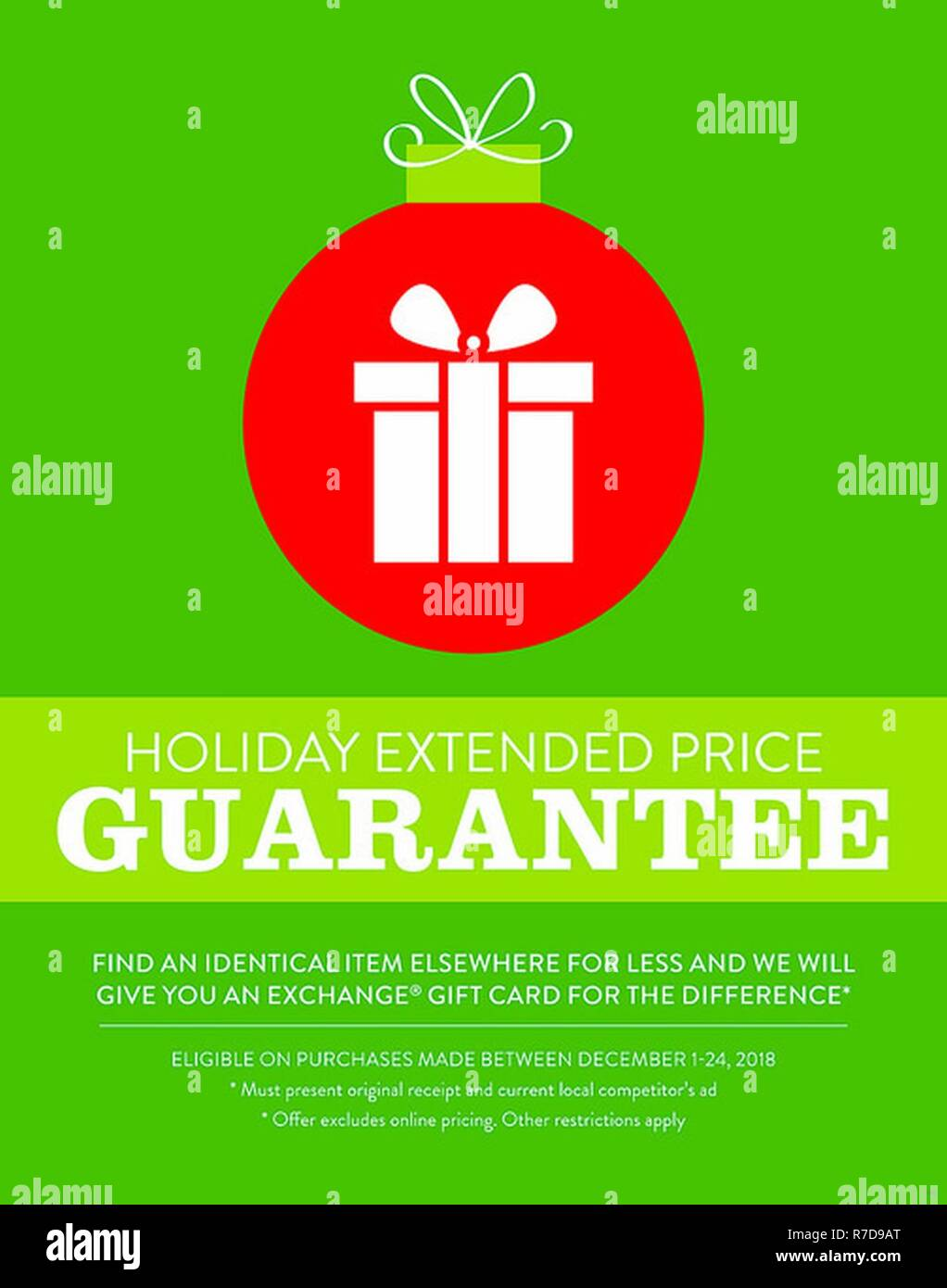 The Army & Air Force Exchange Service is making sure that Warfighters and their families get the lowest price this holiday season with an extended price guarantee. - Stock Image