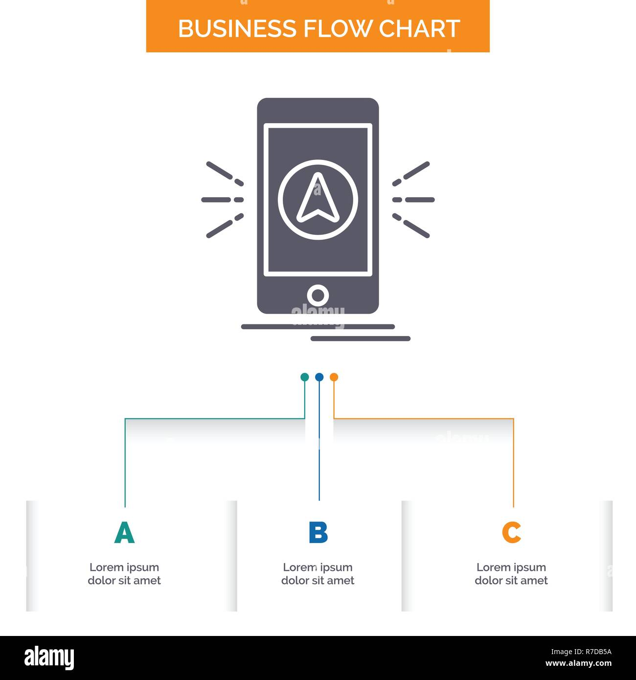 navigation, app, camping, gps, location Business Flow Chart Design with 3 Steps. Glyph Icon For Presentation Background Template Place for text. - Stock Image
