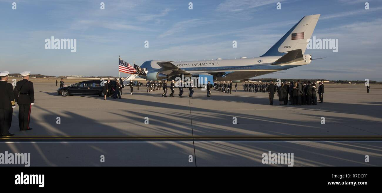 George H.W. Bush's state funeral takes place on Joint Base Andrews, Md., Dec. 3, 2018. Nearly 4,000 military and civilian personnel from across all branches of the U.S. armed forces, including Reserve and National Guard components, provided ceremonial support during George H.W. Bush's, the 41st President of the United States state funeral. Stock Photo