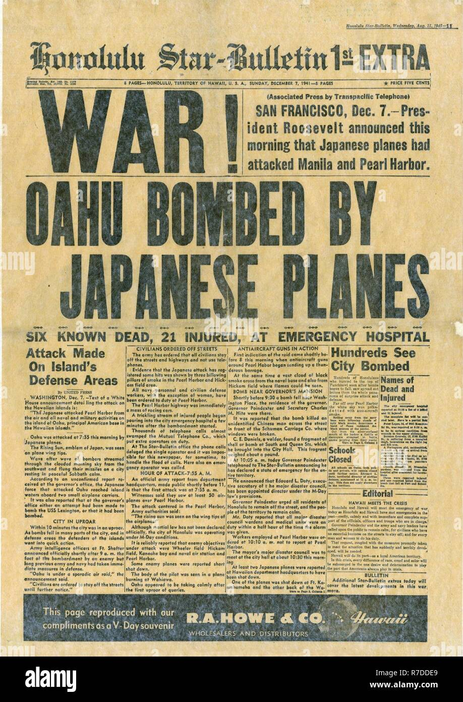 Honolulu Star-Bulletin Newspaper Attacked Pearl Harbor December 7,1941