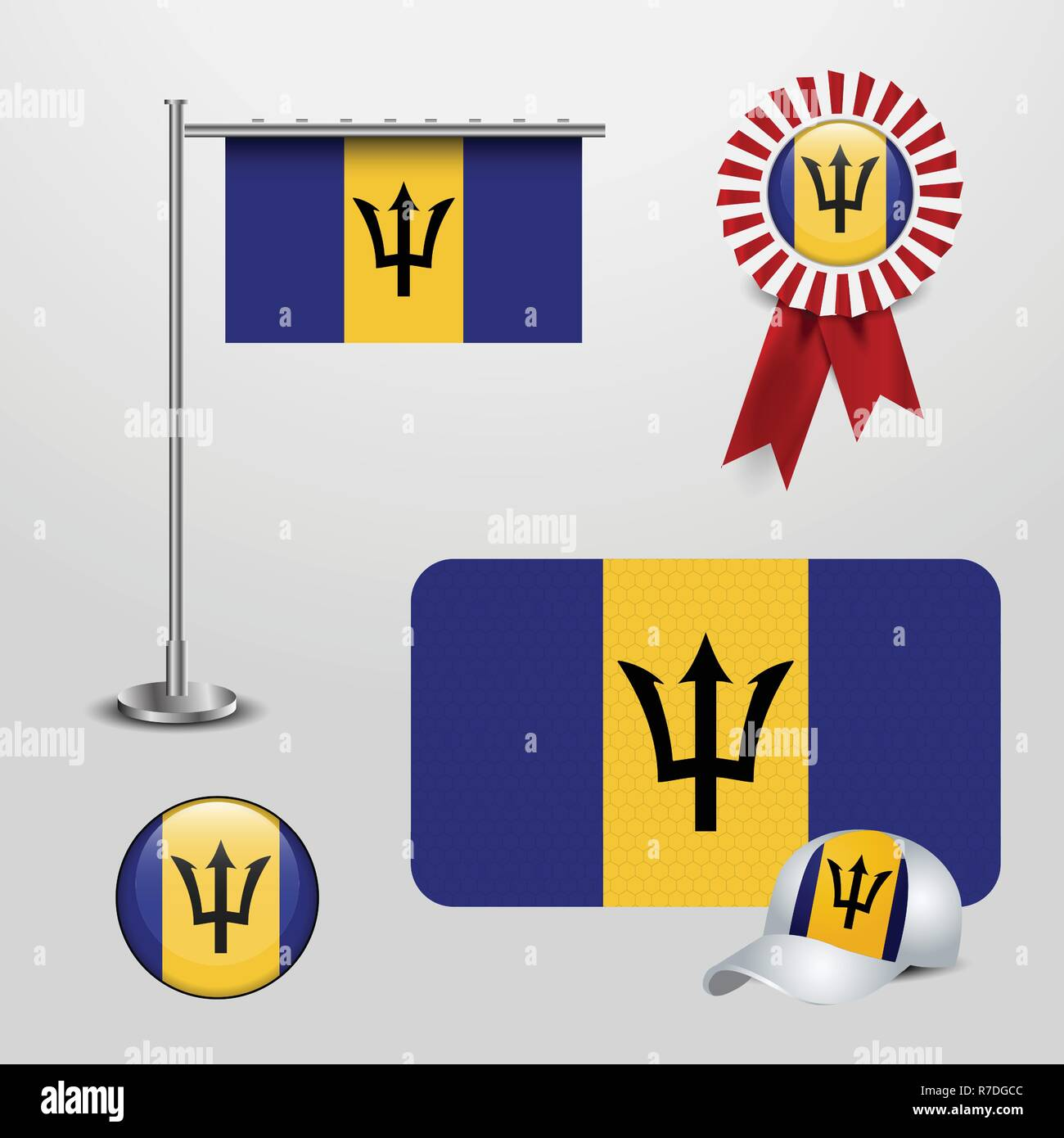 Barbados Country Flag haning on pole, Ribbon Badge Banner, sports Hat and Round Button - Stock Vector