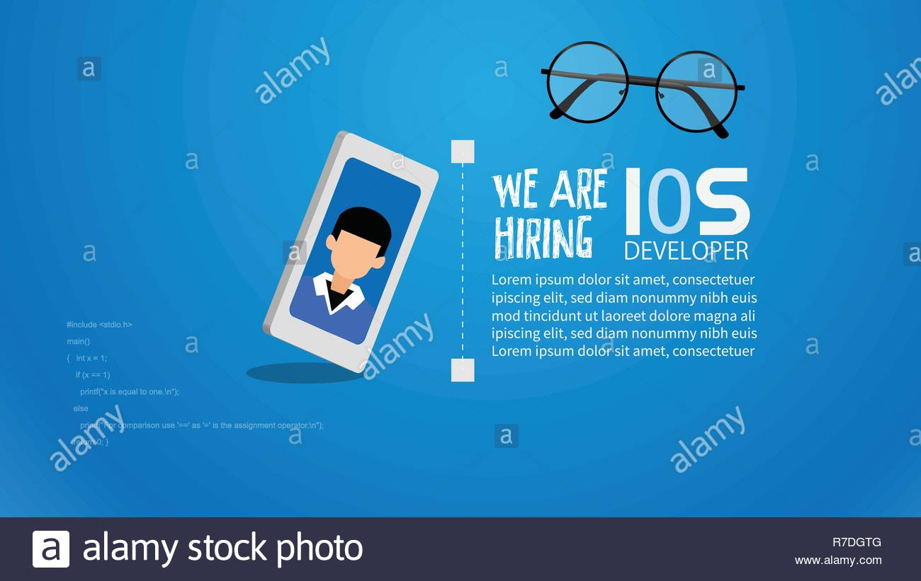 IOS Front End Development a guy creating web application, website creating concept. Flat style and icons in background illustration. - Stock Image