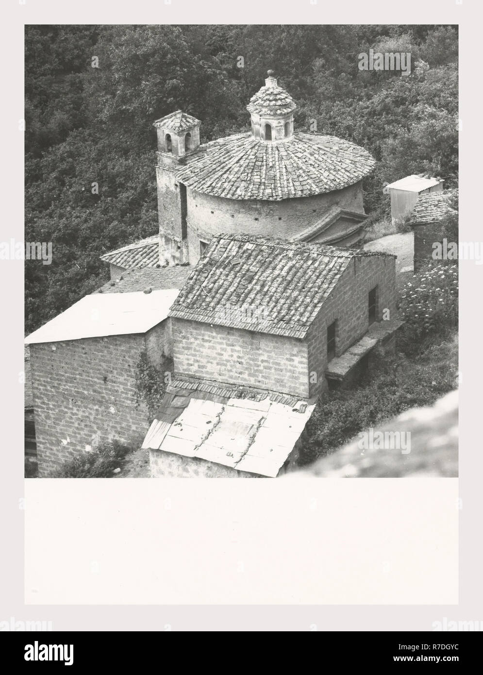 Lazio Viterbo Vignanello S. Maria delle Lacrime, this is my Italy, the italian country of visual history, Exterior views of Romanesque church apparently located outside town Stock Photo