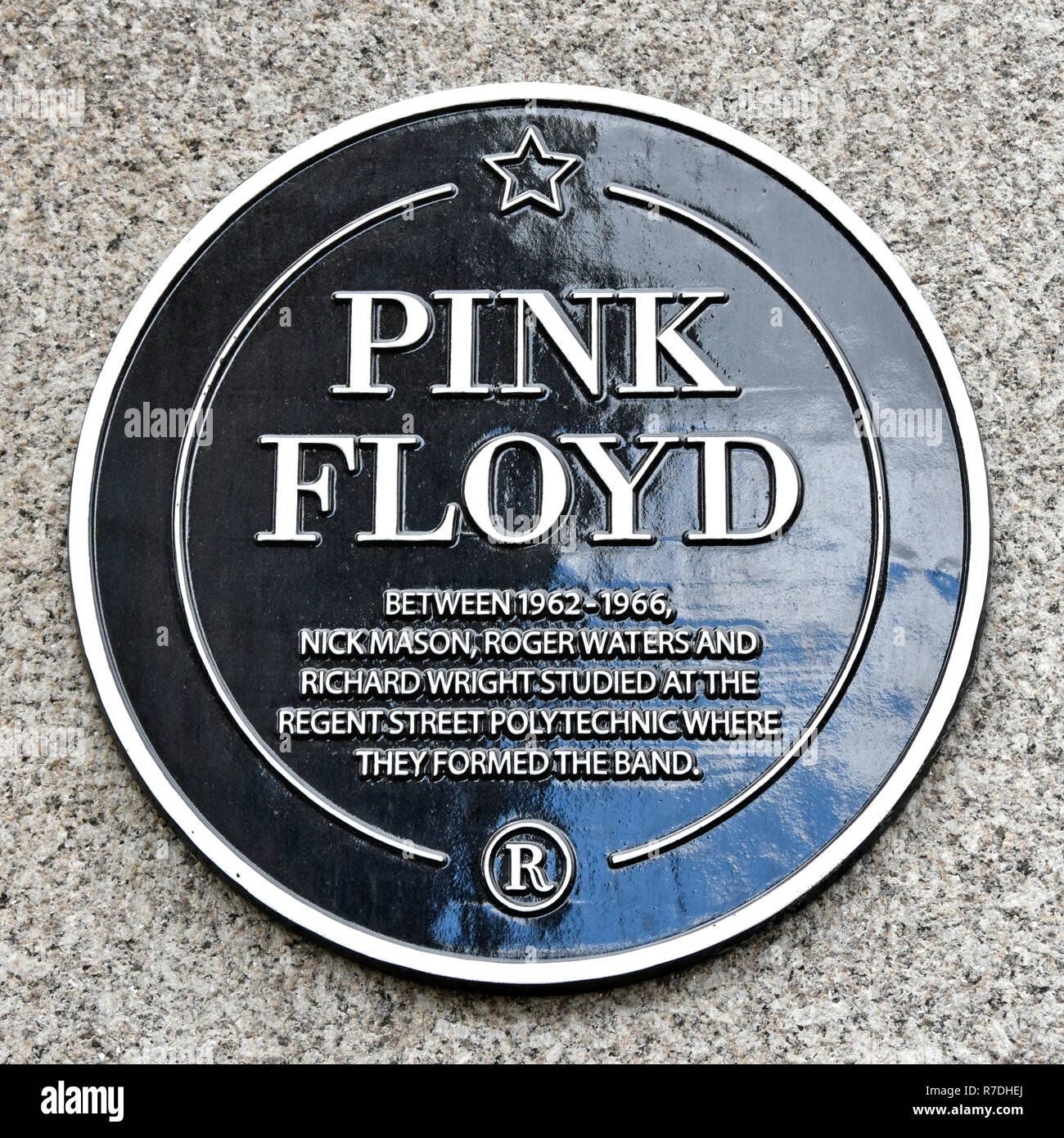 Pink Floyd English rock music band plaque on wall of Regent Street Polytechnic in London as students the group formed the band in 1960s England UK - Stock Image