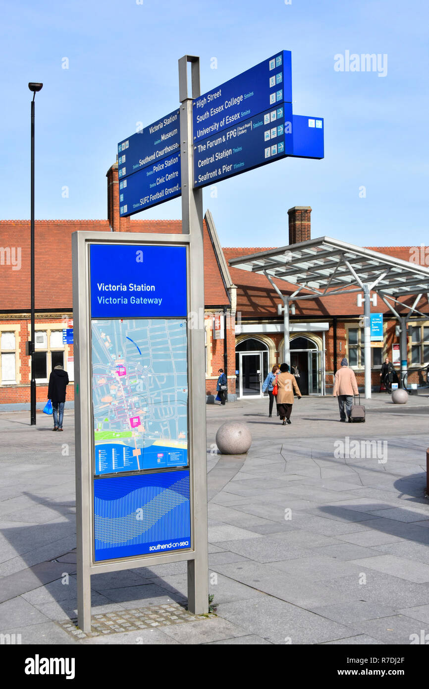 Tourist information town centre seaside resort local destinations on street signs & map at Victoria train station gateway Southend on Sea Essex UK - Stock Image