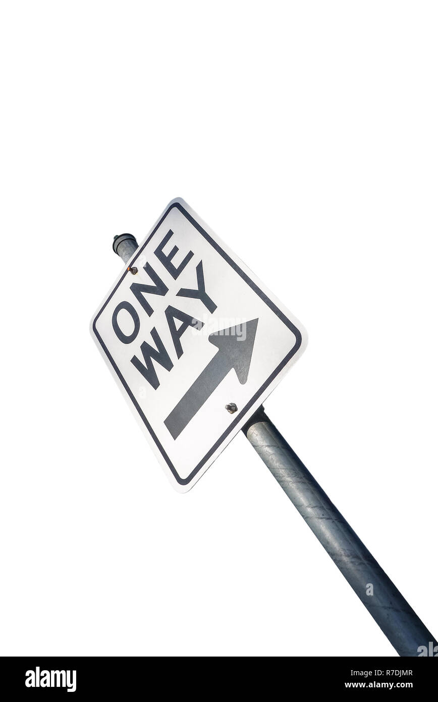 One way road sign isolated on white - Stock Image