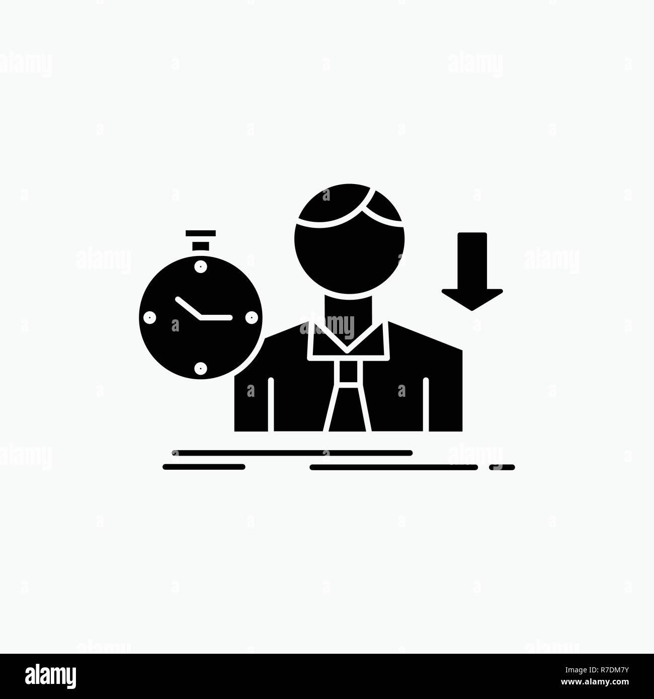 failure, fail, sad, depression, time Glyph Icon. Vector isolated illustration - Stock Vector