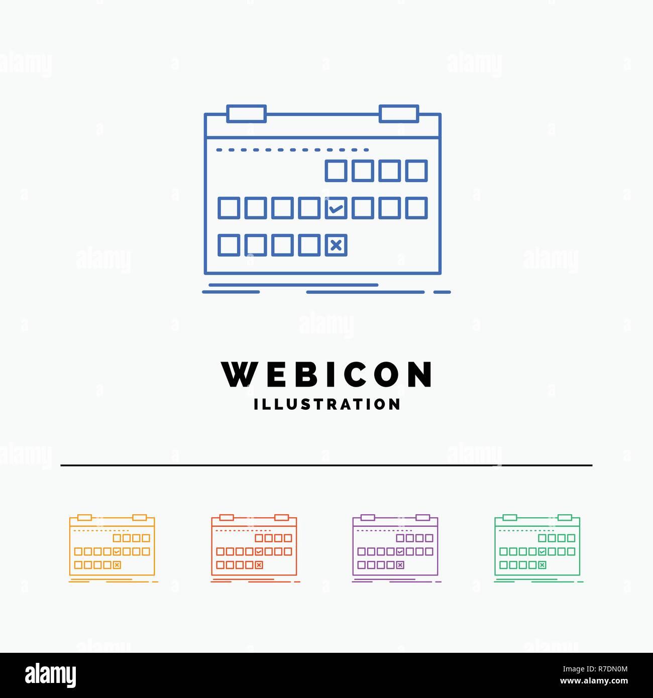 Calendar Date Event Release Schedule 5 Color Line Web Icon