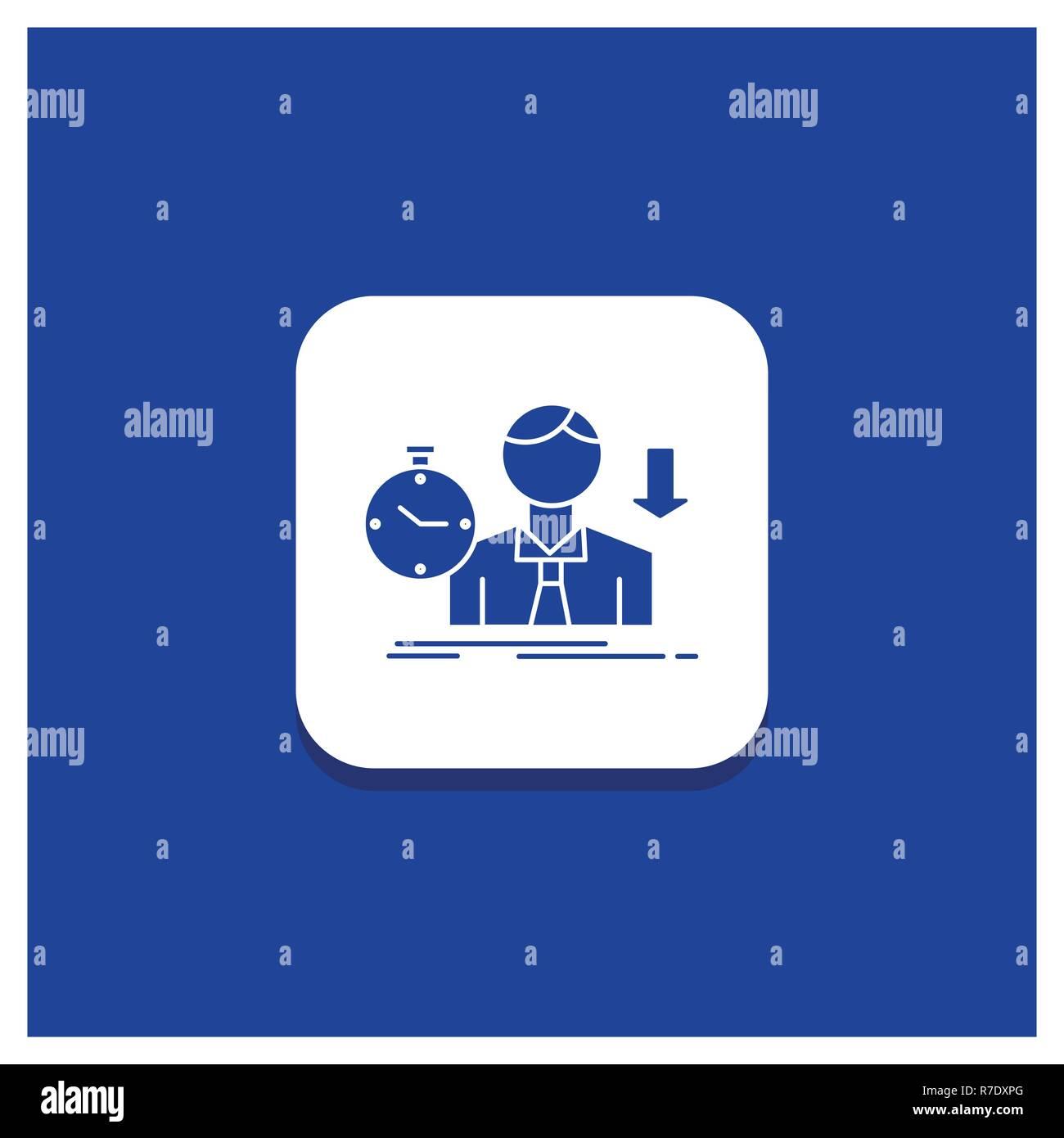 Blue Round Button for failure, fail, sad, depression, time Glyph icon - Stock Vector