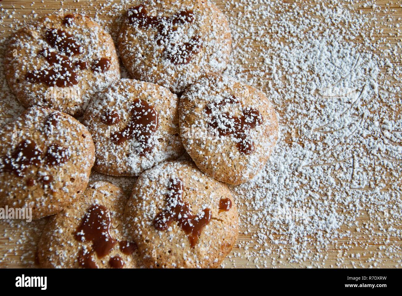 Traditional German Hazelnut Biscuits With Chocolate Topping On A