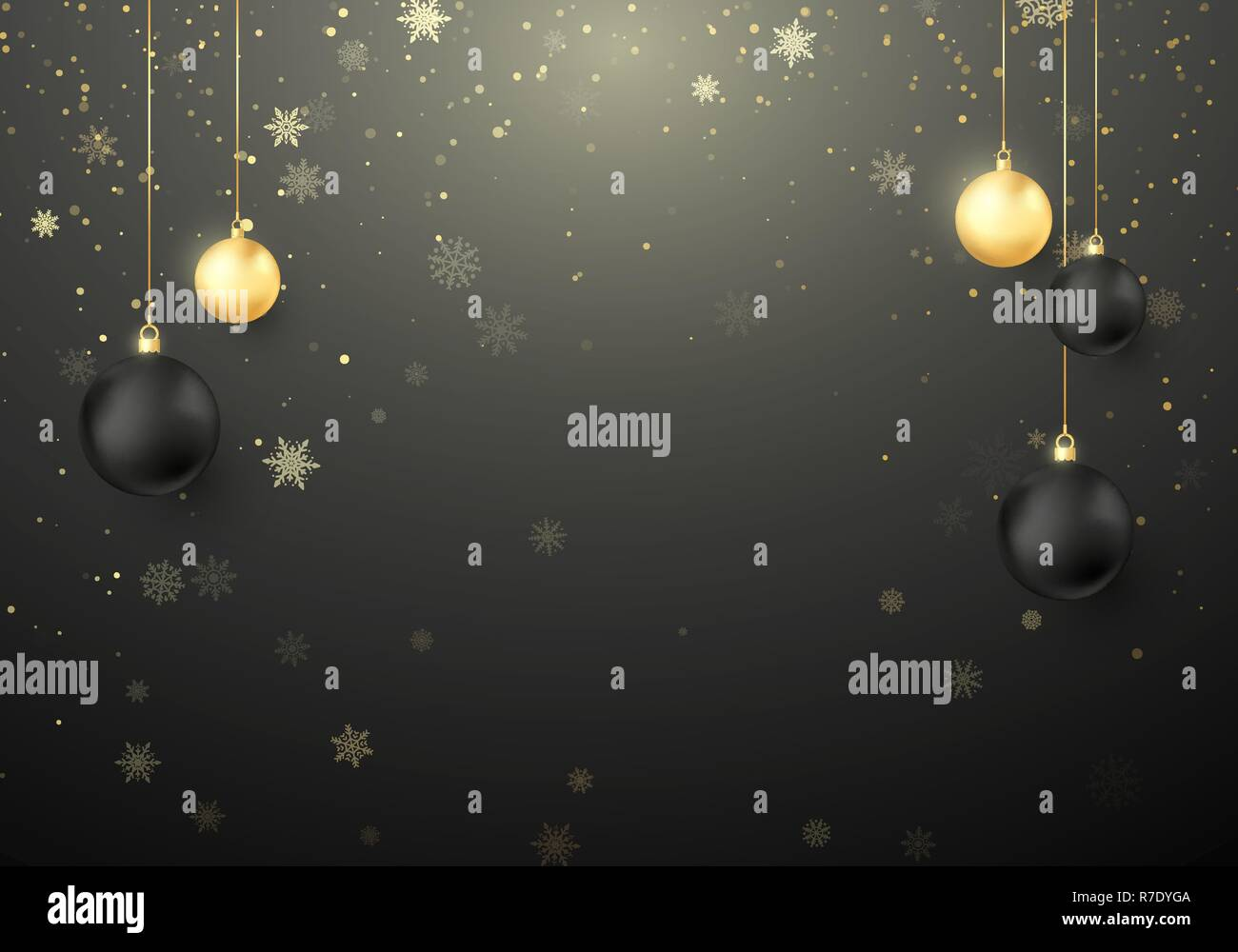 Black Christmas Balls.Shiny Christmas Holiday Background Snowflakes And Sparkles With