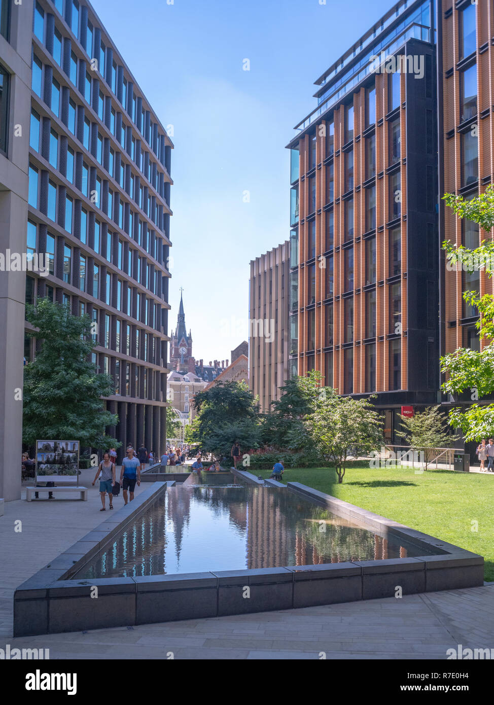 Pancras Square, Kings Cross, London part of the regeneration of the old goods yards of Kings Cross and home to Google, YouTube and other businesses Stock Photo