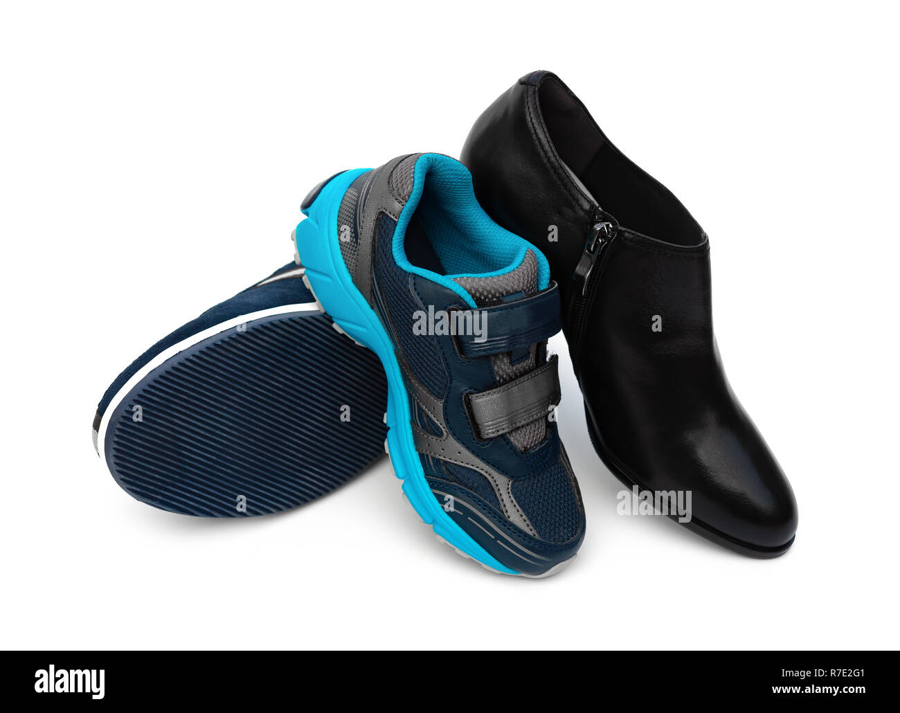 81053e0ff1f8 shoes for family member of dad mom and son on white Stock Photo ...