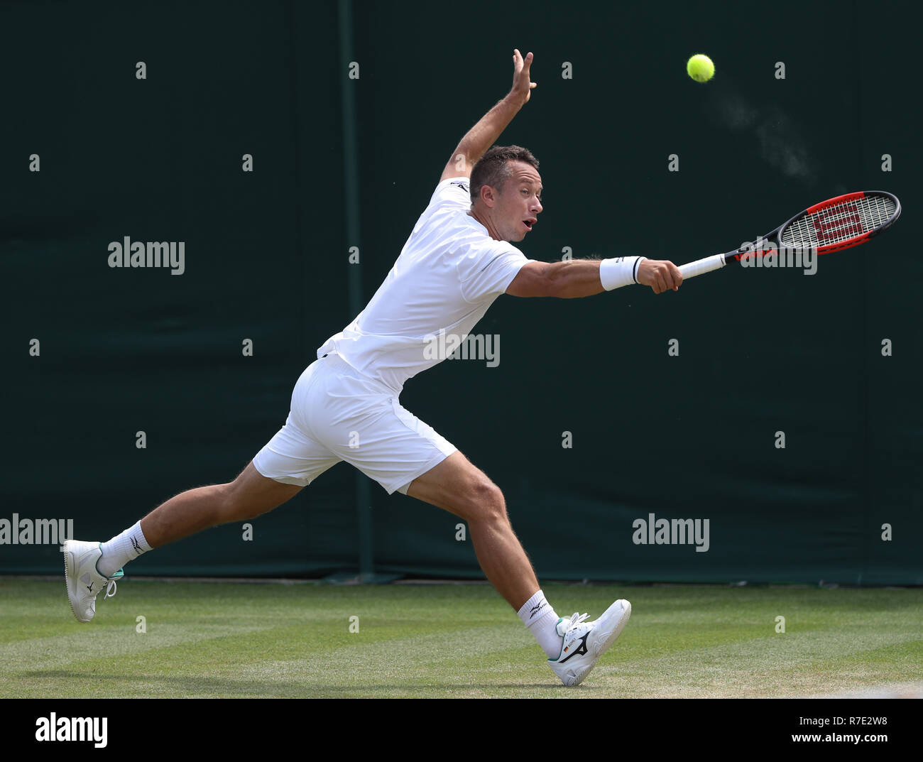 German player Philipp Kohlschreiber in action  at Wimbledon, London, Great Britain, United Kingdom. - Stock Image