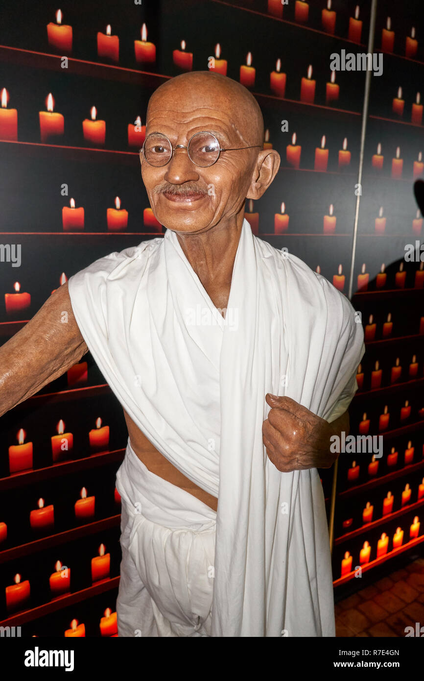 MONTREAL, CANADA - SEPTEMBER 23, 2018: Mahatma Gandhi, leader and indian activist. Wax museum Grevin in Montreal, Quebec Canada - Stock Image