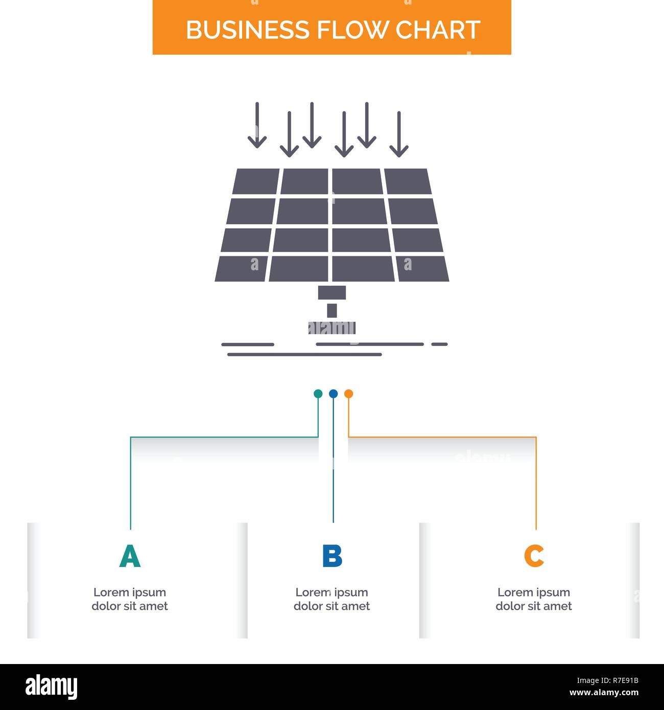 solar panel energy technology smart city business flow chart design with 3 steps glyph icon for presentation background template place for text R7E91B solar, panel, energy, technology, smart city business flow chart