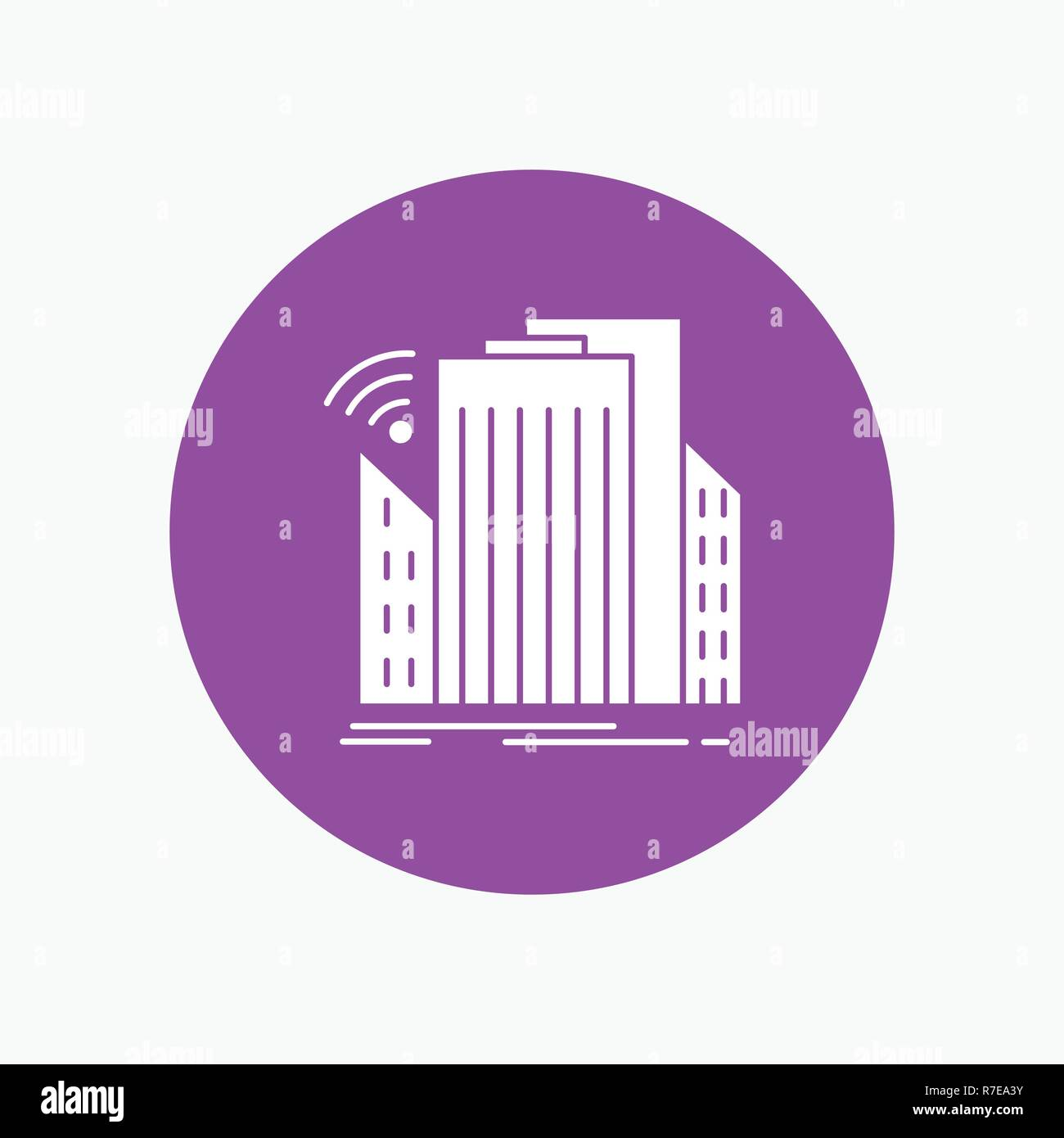 Buildings, city, sensor, smart, urban White Glyph Icon in Circle. Vector Button illustration - Stock Vector