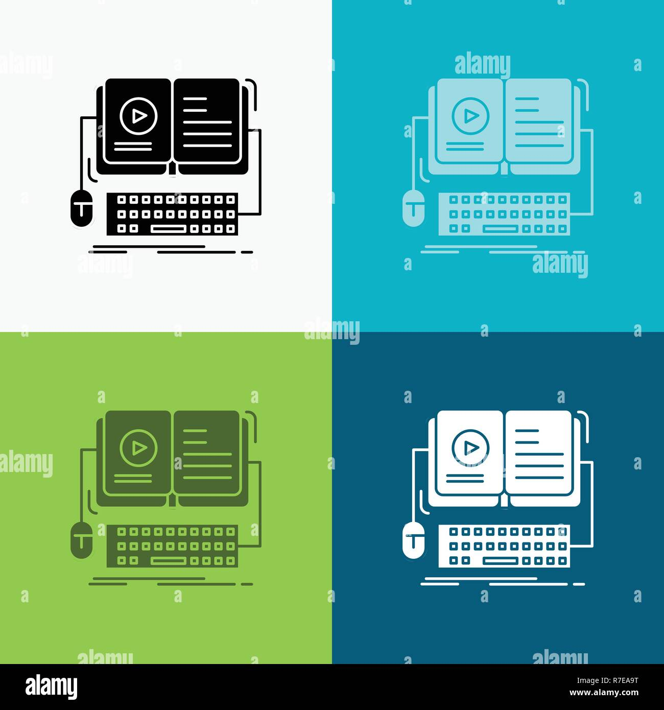 book, ebook, interactive, mobile, video Icon Over Various Background. glyph style design, designed for web and app. Eps 10 vector illustration Stock Vector