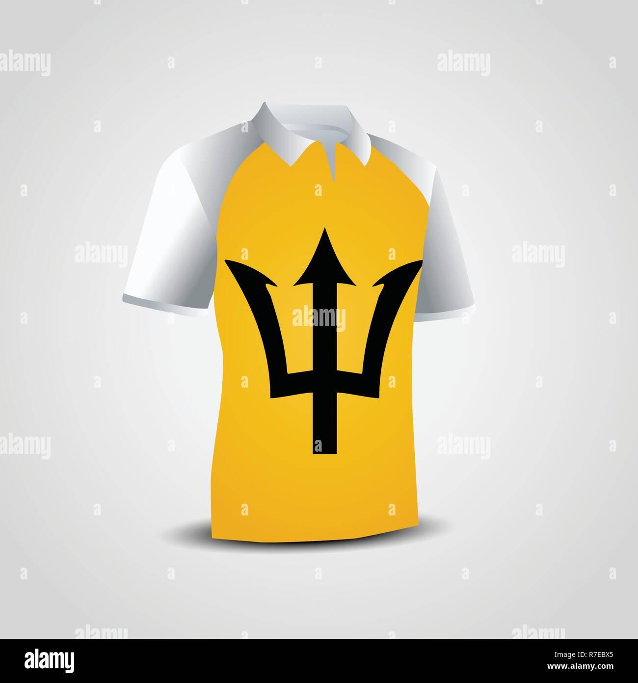 Barbados Flag on T-shirt - Stock Vector