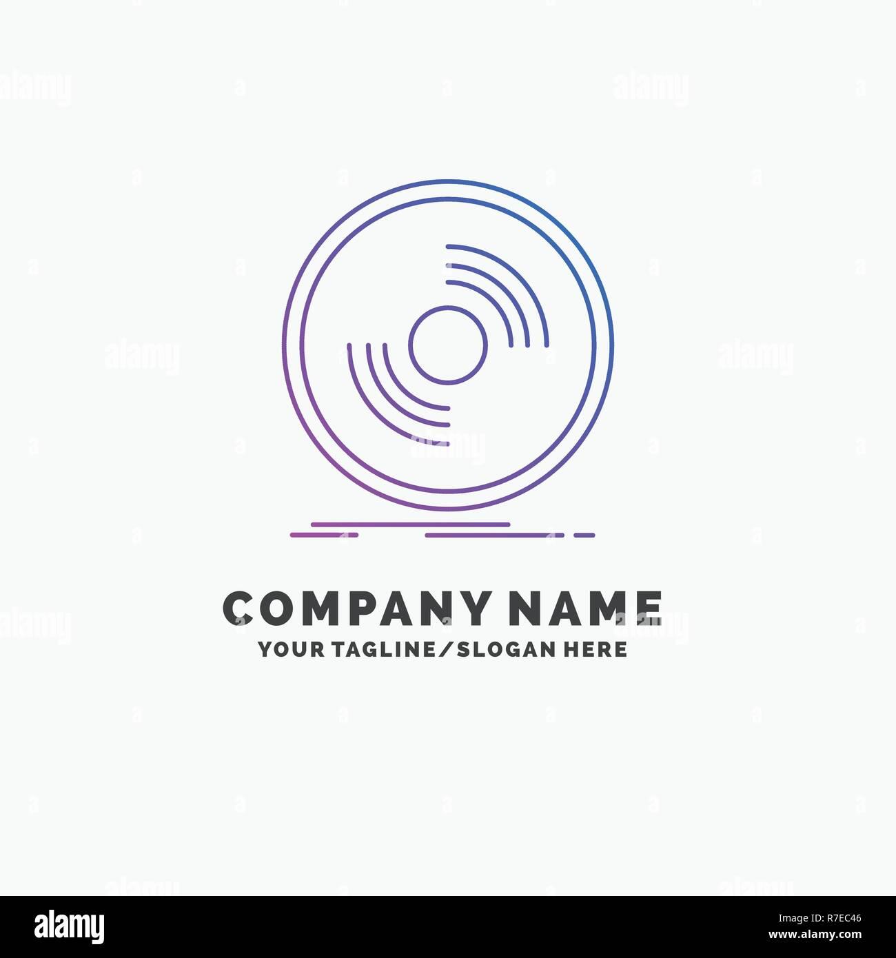 disc dj phonograph record vinyl purple business logo template