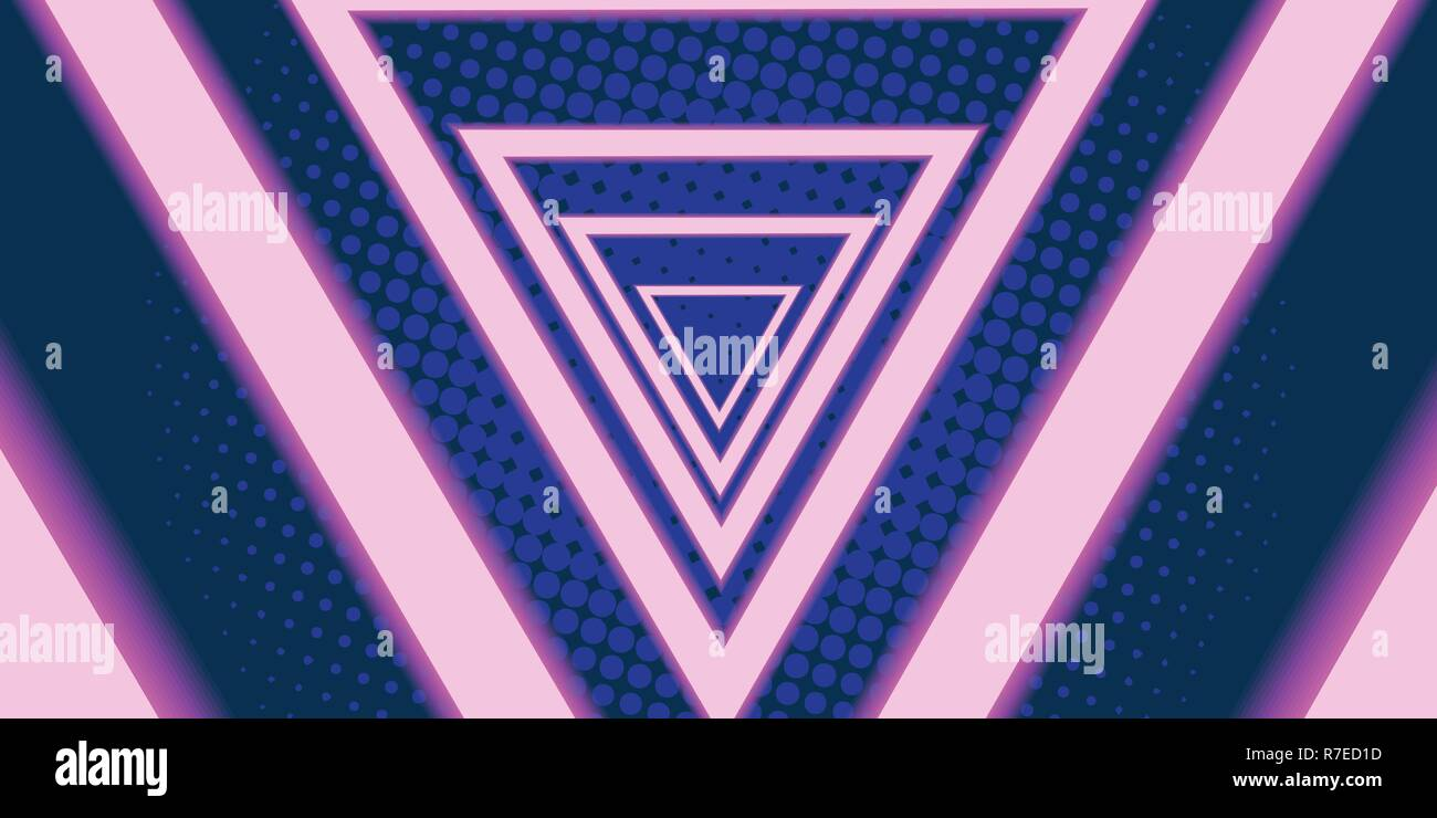 triangle eighties background 80s 1980. Pop art retro vector illustration kitsch vintage - Stock Vector