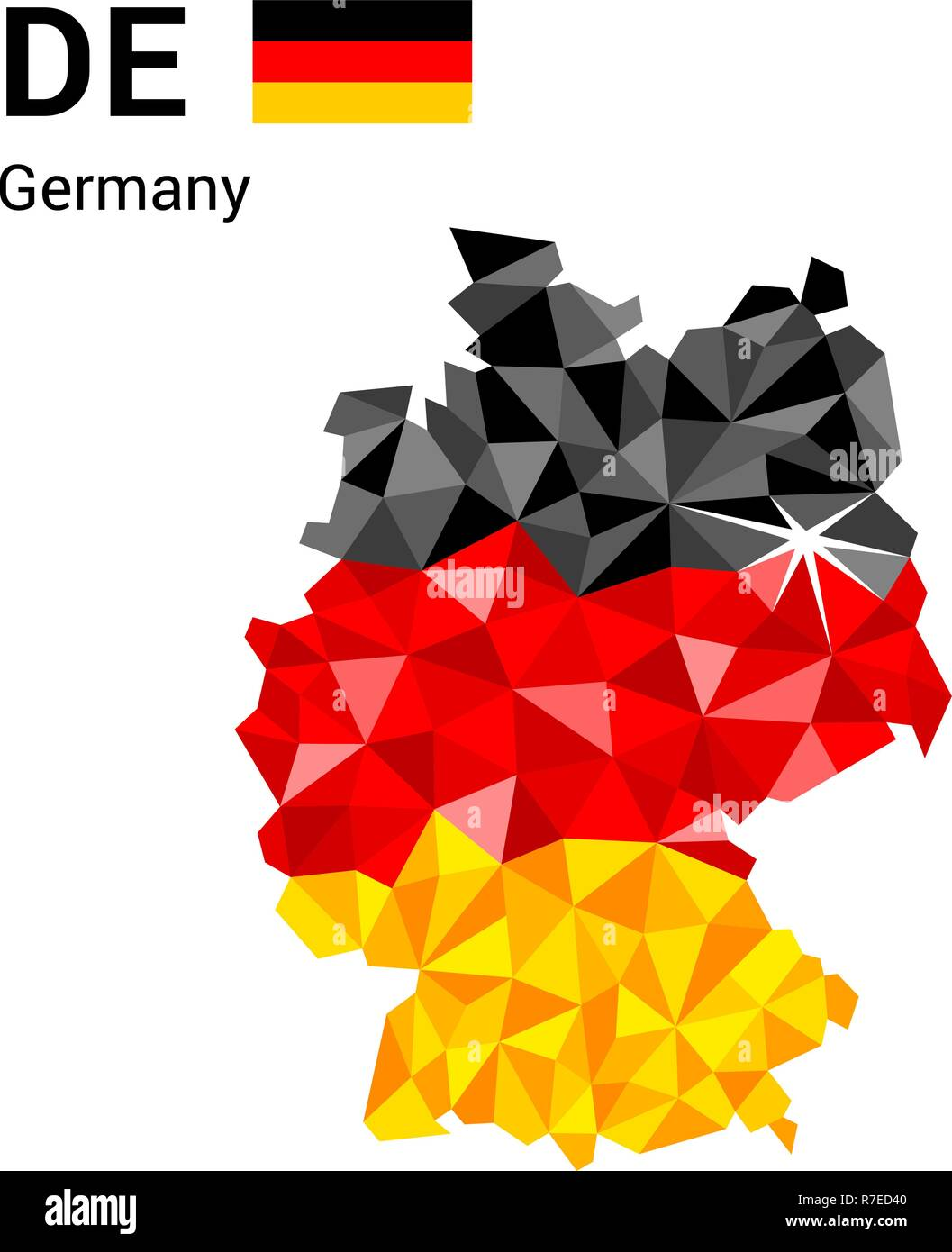 Germany flag map in polygonal geometric style. - Stock Vector
