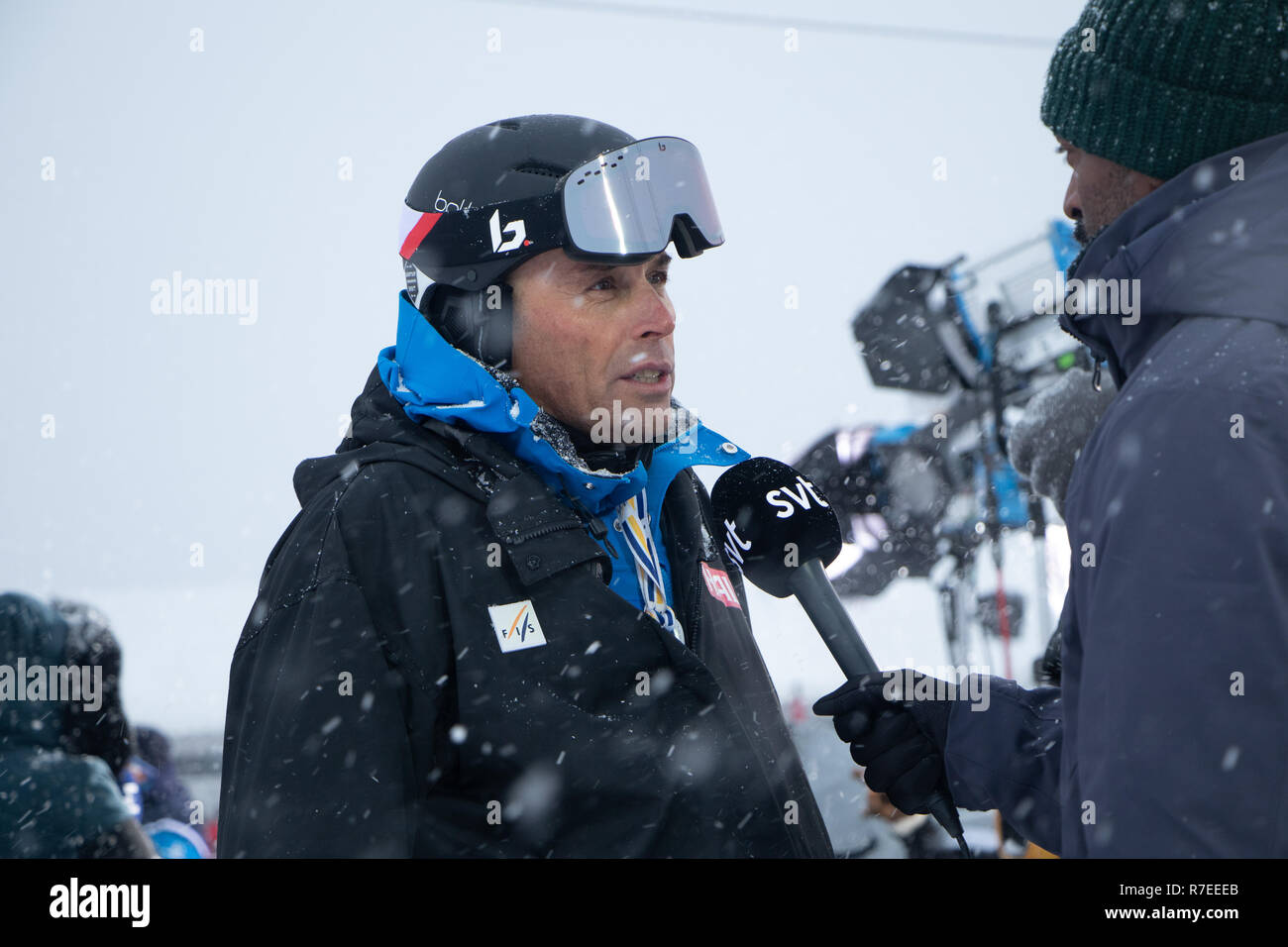 09 December 2018, Val d'Isère France. Markus Waldner of the FIS Alpine Skiing Ski World Cup Federation talks about the cancellation of the slalom race - Stock Image