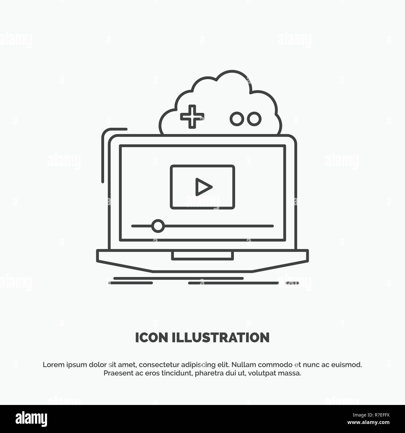 Cloud, game, online, streaming, video Icon  Line vector gray