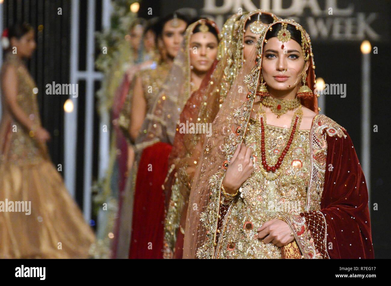 Lahore, Pakistan  8th Dec, 2018  Models present creations by