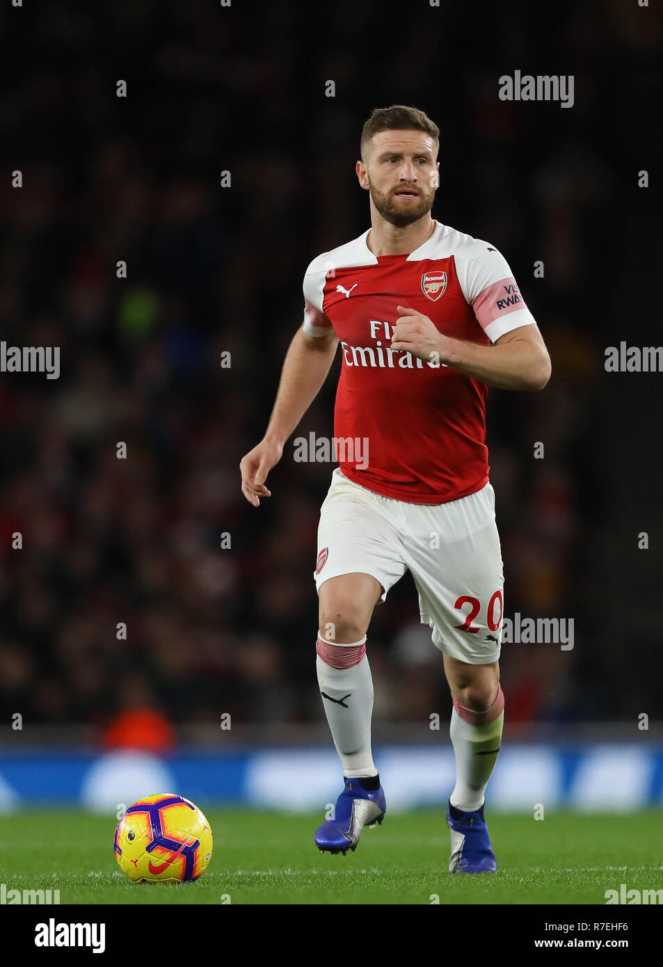 London, UK. 8th Dec 2018. Shkodran Mustafi of Arsenal - Arsenal v Huddersfield Town, Premier League, Emirates Stadium, London (Holloway) - 8th December 2018  Editorial Use Only - DataCo restrictions apply Credit: MatchDay Images Limited/Alamy Live NewsEditorial use only, license required for commercial use. No use in betting, Credit: MatchDay Images Limited/Alamy Live News - Stock Image