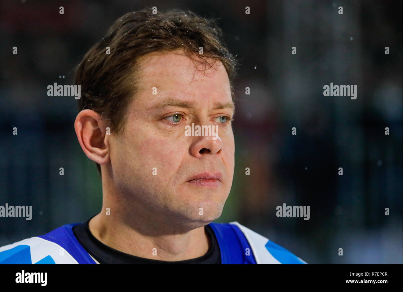 Moscow, Russia. 09th Dec, 2018. World Legends Hockey League President Pavel Bure during the 5th Legends Cup ice hockey tournament at the Luzhki Club ice rink; held for retired senior ice hockey players, this year's tournament marks the 100th birth anniversary of Soviet ice hockey player and coach Anatoly Tarasov (1918-1995). Mikhail Japaridze/TASS Credit: ITAR-TASS News Agency/Alamy Live News - Stock Image