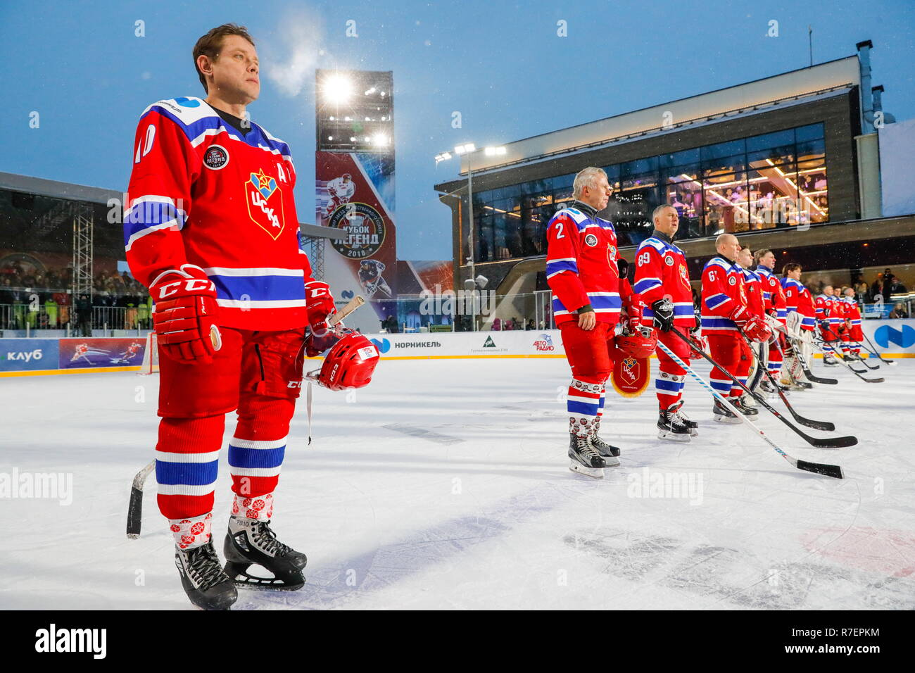 Moscow, Russia. 09th Dec, 2018. World Legends Hockey League President Pavel Bure (R) of the CSKA team during the 5th Legends Cup ice hockey tournament at the Luzhki Club ice rink; held for retired senior ice hockey players, this year's tournament marks the 100th birth anniversary of Soviet ice hockey player and coach Anatoly Tarasov (1918-1995). Mikhail Japaridze/TASS Credit: ITAR-TASS News Agency/Alamy Live News - Stock Image